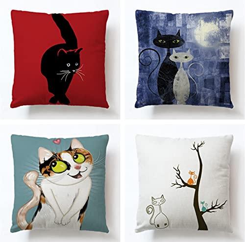 JOVEGSRVA Juego de 4 fundas de almohada decorativas de 45 cm x 45 cm, diseño de gato negro