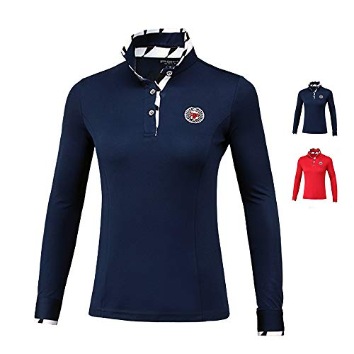 Mhwlai Langärmliges Damenhemd, Golfhemd, Damen-Sweatshirt, ultradünne Damen-S-XXL-Sportbekleidung (rot),B,M
