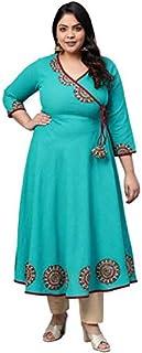 Yash Gallery Women's Plus Size Cotton Slub Angrakha Style Anarkali Kurta (Teal)