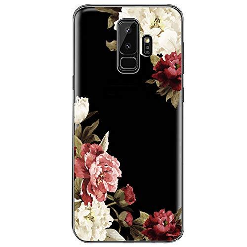 Teryei kompatibel mit Hülle Galaxy S9, Crystal Clear Transparent Handyhülle TPU Silikon Backcover Hülle Blossom Blühen Blumen Flower Muster Schutz HandyHülle Tasche Hülle für Galaxy S9 (Galaxy S9, 4)