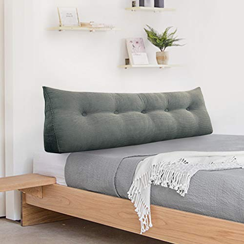VERCART Supportive Upholstered Grey Headboard with Buttons in Corduroy Fabric Padded Sidebar Available In 5ft King Bed 26' Tall