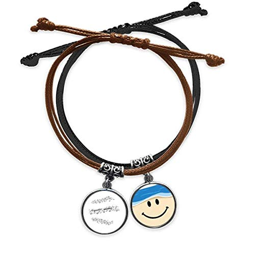 Bestchong Elegant Black Music 5-le Staff Bracelet Rope Hand Chain Leather Smiling Face Wristband