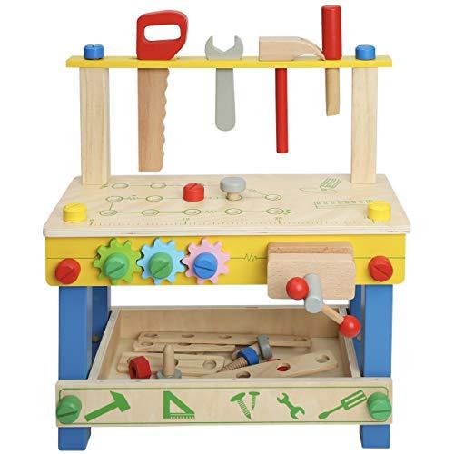 Robotime Workbench Holzwerkzeuge Box-Sets für Kinder mit Schubladen, Hammer, Schraubenschlüssel Vorschule Rollenspiel Spielzeug für 3 4 5 Jahre alt (Type2)
