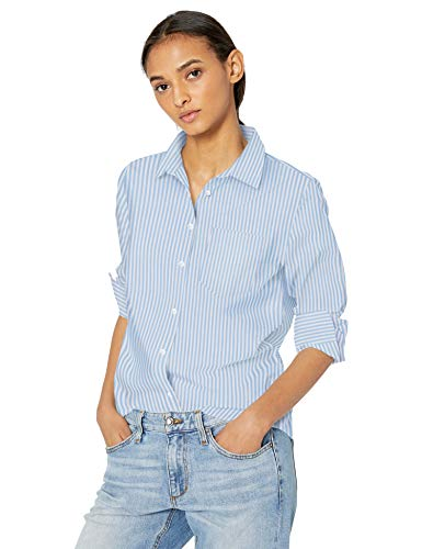Amazon Essentials Damen Langarm-Bluse, klassische Passform, Popelin, French Blue Stripe,   M