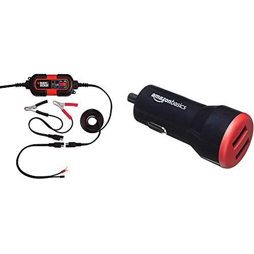 Black & Decker BDV090 Cargador de Baterias, 6-12V de Mantenimiento. artículo para Las baterías de automóviles + AmazonBasics - Cargador de Coche, de 4,8 A / 24 W, 2 Puertos USB, Negro/Rojo