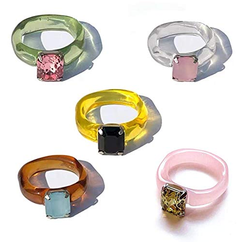 Juego de anillos de resina de 5 uds, Anillos de dedo de diamantes retro, anillos geométricos transparentes coloridos, regalo de joyería para mujer y niña
