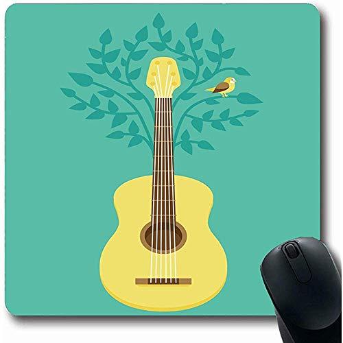 Mousepad Melodie-Baum-Musik-Flacher Gitarren-Vogel-Weinlese singen Piktogramm-musikalische Büro-Computer-Laptop-Notizbuch-Mausunterlage, Rutschfester Gummi 25X30CM