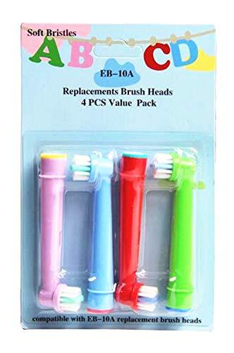 EB-10A Pprofessionalale di ricambio per spazzolino da denti elettrico per bambini,progettato per Oral B elettrico testina di ricambio per spazzola con setole morbide,4pcs   carta