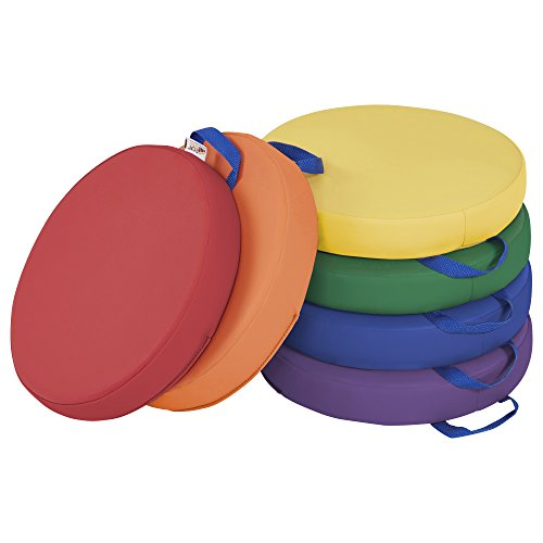 ECR4Kids Floor Cushions with Handles, 2' Deluxe Foam, Round, Assorted, (6-Pack)