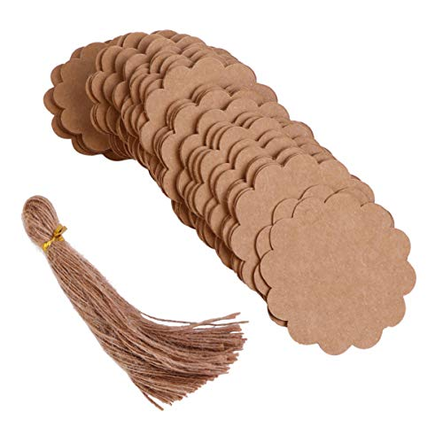 NUOBESTY 1 Set Geschenkpapieranhänger Braune Papieranhänger mit Schnurschnur für Geschenkbox-Dekorationsanhänger (100 Umbauten + 100 Hanfseile)