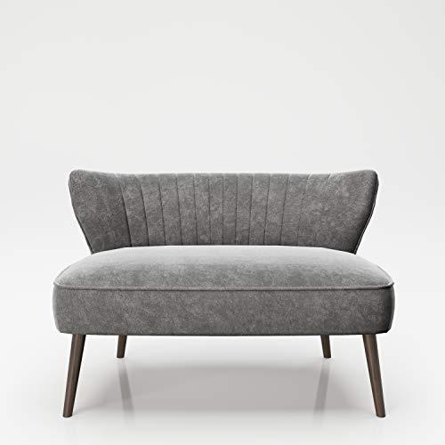 PLAYBOY Sitzbank / Lounge Loveseat mit bequemer Rückenlehne, Samtstoff in Light gray, Sofa, Zweisitzer, 2er Sofa, Couch, Loungesessel, Retro-Design für Wohnzimmer & Lounge, Eingangsbereich, Grau