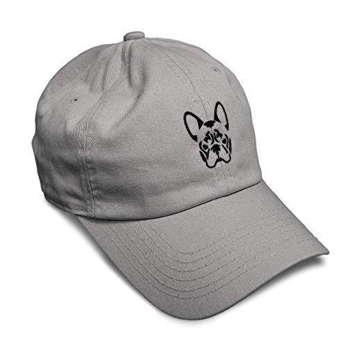 Soft Baseball Cap French Bulldog Silhouette Embroidery Pets Dogs Twill Cotton Dad Hats for Men & Women Buckle Closure Light Grey Design Only