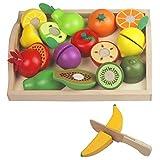 Mango Town Holz Obst Gemüse Spielzeug Kinderküche Zubehoer Spielzeug Kaufladen Holz Kaufmannsladen Zubehör Schneiden aus Holz Lebensmittel Rollenspiele für Kinder Jungen Mädchen 3 4 5 6 7