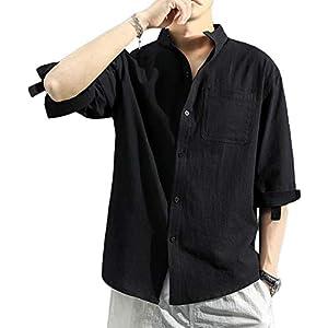 メンズ シャツ 柔らかい 無地 綿麻リネン スリムフィット 綿麻シャツ 七分袖 春 夏 秋 トップス カジュアルシャツblack M