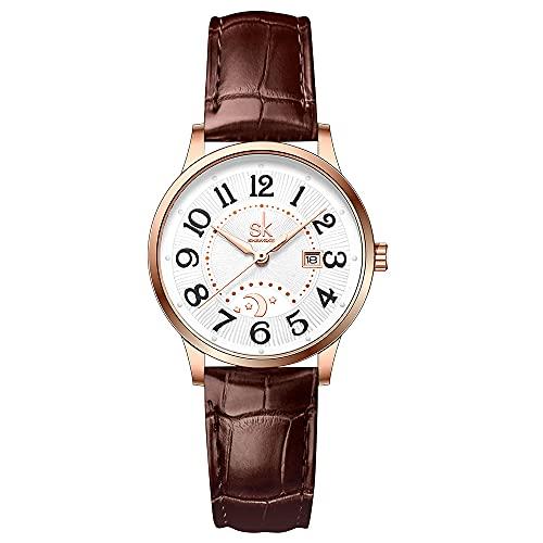 SK Relojes lassic Business para Mujer con Correa de Acero Inoxidable y Elegante Reloj con Calendario para Mujer (Brown)