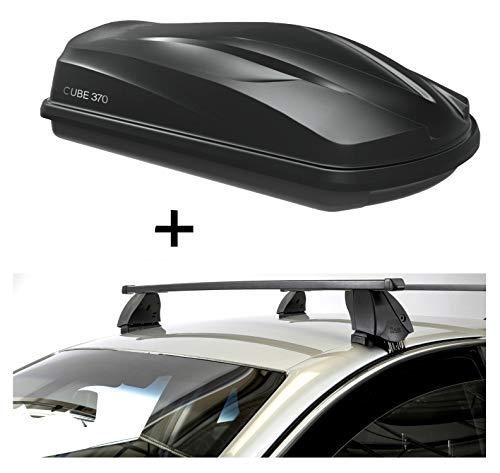 VDP Dachbox CUBE370 370 Liter schwarz glänzend + Dachträger K1 MEDIUM kompatibel mit Ford Ecosport (5Türer) ab 14