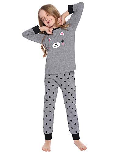 Hawiton Algodón Conjunto de Pijamas para niños niñas Invierno de Manga Larga Gato de patteren Dot Ropa de Dormir de Fondo Redondo,4-13 años