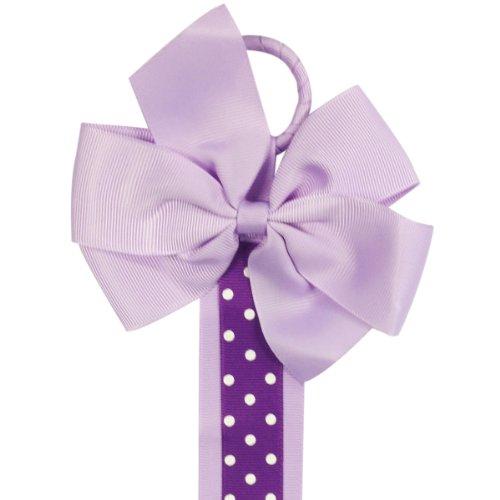 ALLYDREW Long Ribbon Hair Clip & Hair Bow Holder - Purple Polka Dots