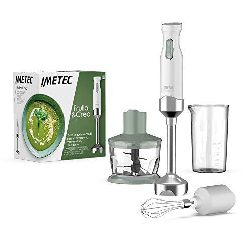 Imetec Frulla&Crea Frullatore a Immersione, 3 Accessori, Tritatutto, Frusta e Bicchiere BPA free, Piede Large, 2 Velocità, 1000 W, 15000 Giri Minuto