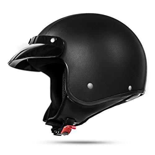 ATO Moto Classic Leder Jethelm Motorradhelm in Schwarz matt extrem leicht ECE 2205 - Größe: L 59-60cm
