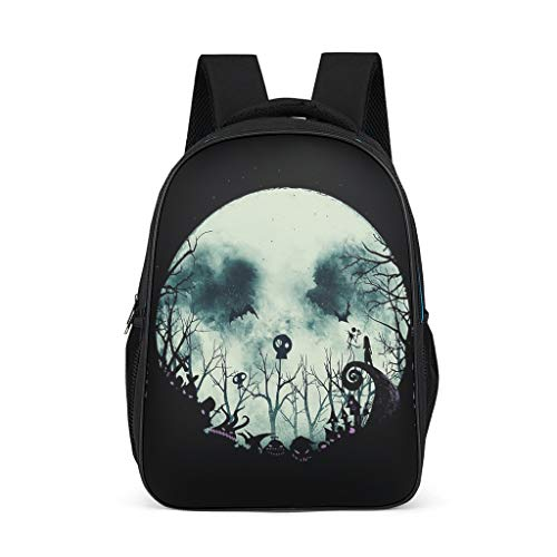 Backpack Halloween Horror The Nightmare Before Christmas Jack Pattern Bookbag Multi-Function Daypack Business Bag for Teenagers Toddler bright gray onesize
