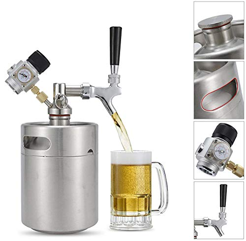 Bier Keg 2L met Dispenser Tap Perfect voor Draft Beer, Torps Beer Kegs met Kraan, Mini Beer Keg voor Home Brew Beer Keg in Bar Nachtclub met Pomp