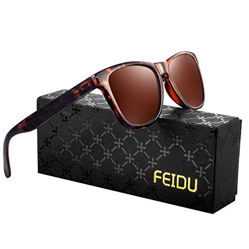 FEIDU Retro Polarisierte Damen Sonnenbrille- Herren Sonnenbrille Outdoor UV400 Brille,Farblinse, Strandreisen unerlässlich für Fahren Angeln Reisen FD 0628 (Leopard-Brown, 60)