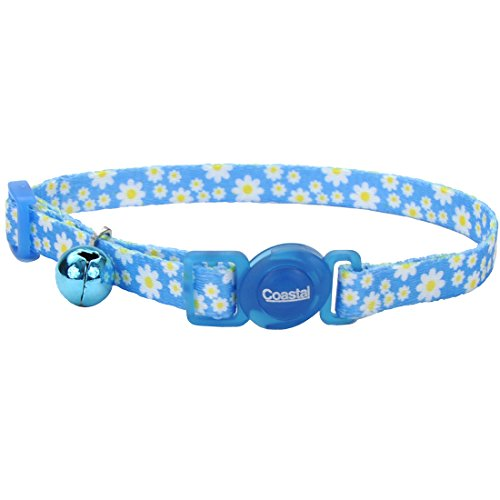 Coastal Pet Fashion Cat Collar Adjustable 8-Inch to 12-Inch, Breakaway Buckle, with Bell, Daisy Blue.