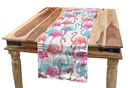 ABAKUHAUS Acuarela Camino de Mesa, Hawai flamencos, Decorativo para el Comedor o Sala de Estar Fácil de Limpiar, 40 x 180 cm, Bebé Salmón Rosa Azul