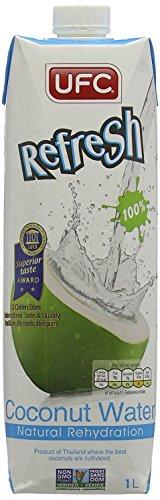 UFC Reines Kokoswasser 100% Pure Kokosnusswasser Thailand 1 Litre Packung (Packung mit 4 Stücken)