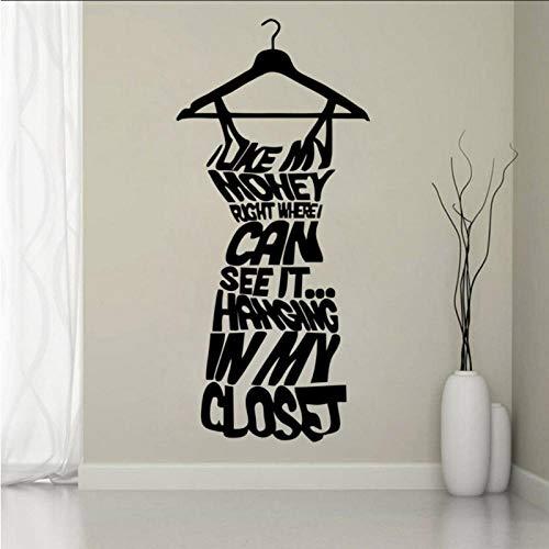 WANGHH Etiqueta de la pared del vinilo de la ventana de la tienda de ropa de moda cita amor mi dinero niñas dormitorio armario arte decoración del hogar papel tapiz de vidrio 42x92cm
