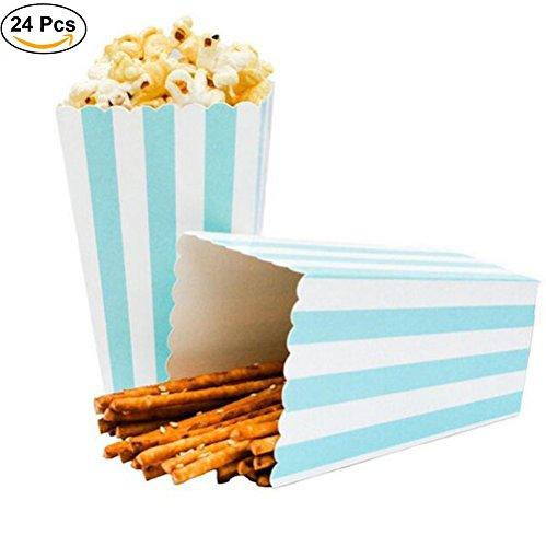 Ouinne Cajas de Palomitas, 24PCS Popcorn Boxes Maíz Envases del Sostenedor Cajas de Cartón de Bolsas de Papel para el Partido (Azul)
