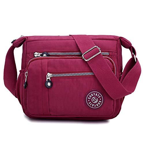 Lässige Umhängetasche für Damen mit Mehreren Taschen Reisetasche Messenger-Handtasche Einkaufen Wandern im täglichen Gebrauch - Rotwein