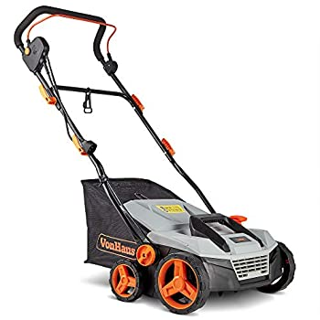 VonHaus 12.5 Amp Corded 15  Electric 2 in 1 Lawn Dethatcher Scarifier and Aerator with 5 Working Depths and 45L Collection Bag - Perfect for Lawn Health and Maintenance