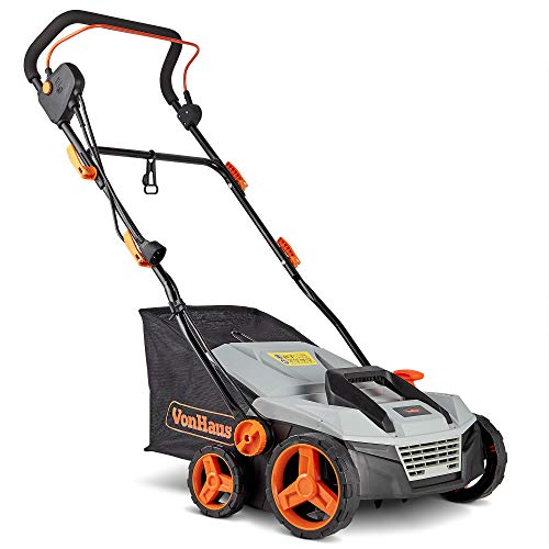 "VonHaus 12.5 Amp Corded 15"" Electric 2 in 1 Lawn Dethatcher Scarifier and Aerator with 5 Working Depths and 45L Collection Bag - Perfect for Lawn Health and Maintenance"