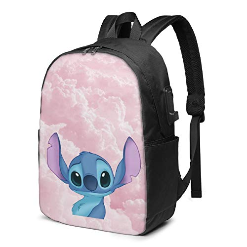 Fashion Leisure Backpack For Girls And Boys, Large Laptop Backpack, Waterproof Business Carry On Backpack For Men And Women, Water Bottle Pockets Daypack,Disney Lilo Stitch Cloud