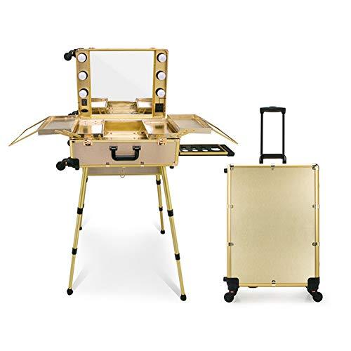 Trucco mobile da viaggio Trolley portatile professionale Trucco cosmetico Tavolo da tavolo con luci a LED Artista Studio Stazione di trucco Specchio cosmetico Scatola da 4 ruote Organizer,D'oro