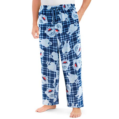 Bumble Snowman Fleece Lounge Pants with Elastic Waist - Comfortable Holiday Pants Navy