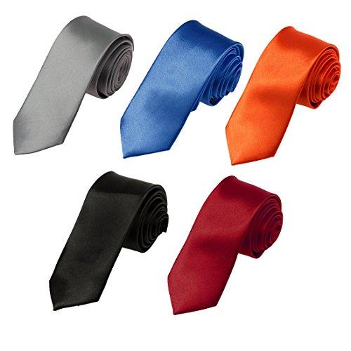 Multi-Color Slim Neck Ties For Party Plain Skinny Necktie Pak DAN2012 Dan Smith Black,Orange...