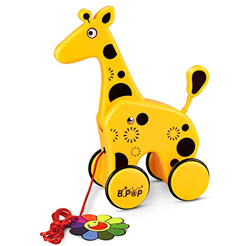 YoungRich Pull Along Toy Small Toddler Cute Animal Toy for Kids 12 Months and Up (Giraffe)