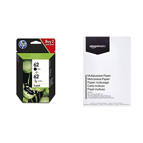 HP 62 N9J71AE Combopack da 2 Cartucce Originali per Stampanti HP a Getto di Inchiostro, Compatibile con HP, Nero/Colore & Amazon Basics Carta da stampa multiuso A4 80gsm, 1 risma, 500 fogli, bianco