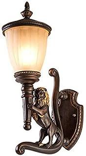MUTANG Resin Wall Lamp Creative Copper Lions Wall Sconce Modern Minimalist Indoor Outdoor Waterproof Balcony Patio Beastmaster Wall Spotlights Vintage Villa Garden Wall Light Lighting Fixture