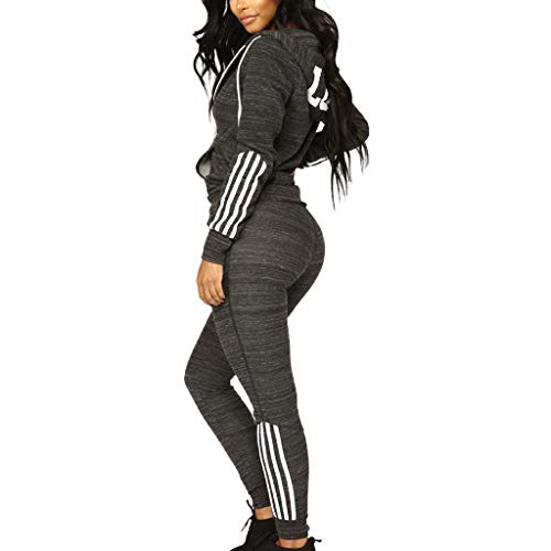 Womens 2 Piece Outfits Tracksuits Baggy Off Shoulder Sexy Long Sleeve Crop Tops Sweater (M,Gray)