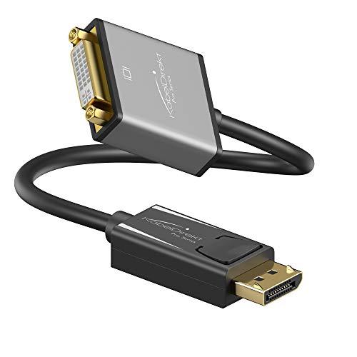 KabelDirekt – DisplayPort DP auf DVI Adapter – 0,15m (maximale Auflösung 4K/30Hz, geeignet für alle Grafikkarten mit DP-Buchse, Anschluss von Beamer oder Monitor mit DVI-Eingang) – PRO Series