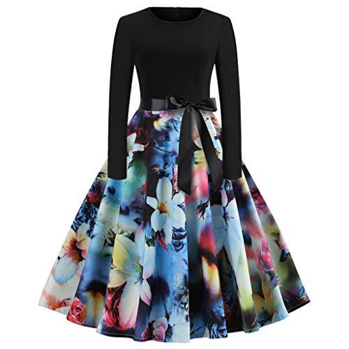 IZHH Damenmode Kleider Frauen Sommerkleider Vintage Italienische Mode Print Langarm Oansatz LäSsige...