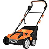Goplus 2-in-1 Corded Lawn Dethatcher with 4 Cutting Heights, 15-Inch 13 Amp Electric Scarifier w/ 50L Collection Bag, 2 Removable Blades