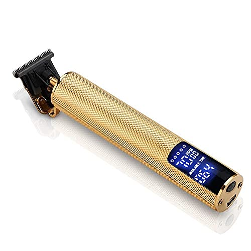 LCD ANTI-SCALD WIRELESS STAINLESS STEEL T-SHAPE SHARP HAIR AND BEARD TRIMMER (GOLD)