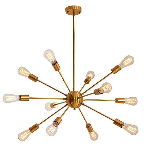 Sputnik - Lámpara de techo (12 luces, latón, diseño moderno, estilo industrial y vintage