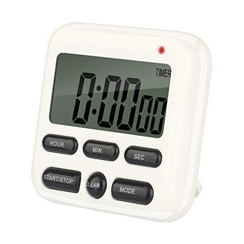 Qootec Minuteur numérique de Cuisine, Ecran LCD, Alarme, Fixation magnétique, avec Fonction mémoire, Horloge, Chronomètre, Compte à rebours EU003