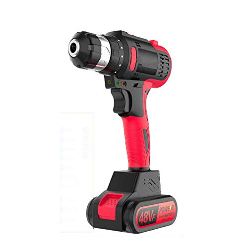Brushless Cordless Combi Drill, Cordless Pistol Drill Lithium Electric Drill Multifunctional Household Electric Screwdriver (48V/6Electric Drill),Impact Style,2Battery JIAJIAFUDR